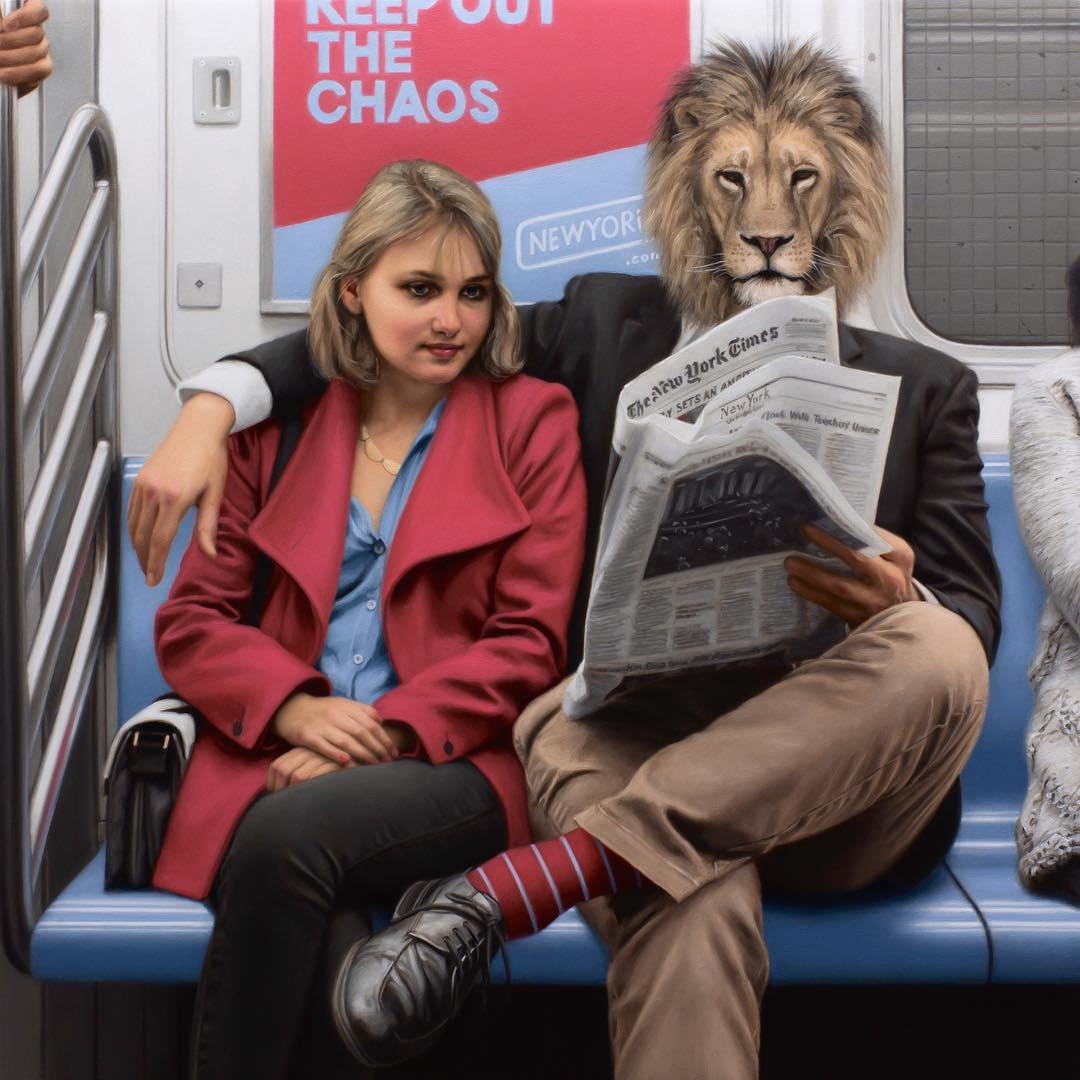 01-Morning-Commute-Lion-Matthew-Grabelsky-Paintings-of-Animal-Human-Hybrids-on-the-Subway-www-designstack-co