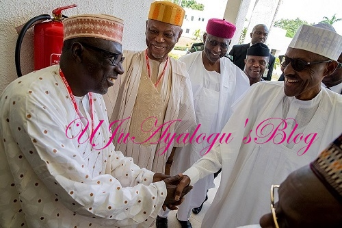 PHOTOS From PDP Leaders Meeting With Buhari In Aso Rock