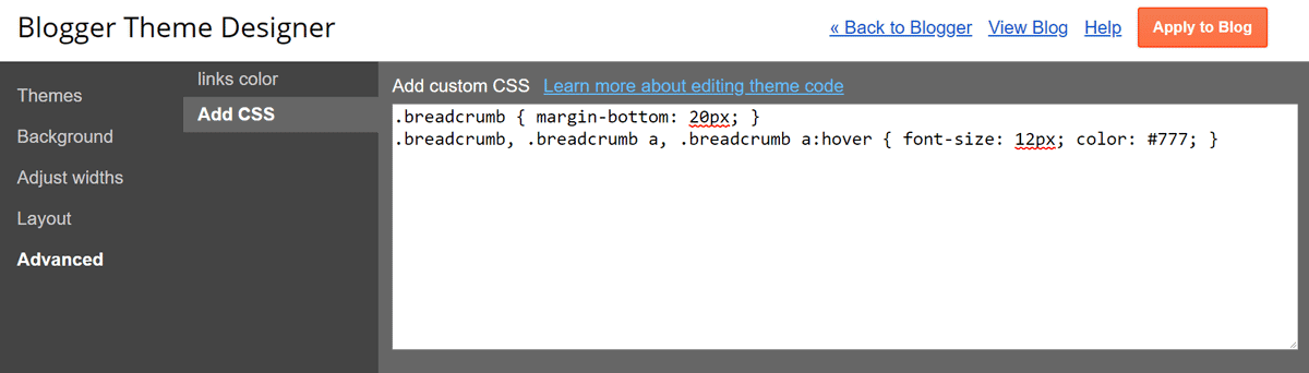 Blogger Breadcrumb Error CSS Add
