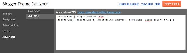 Blogger Breadcrumb Error CSS Add