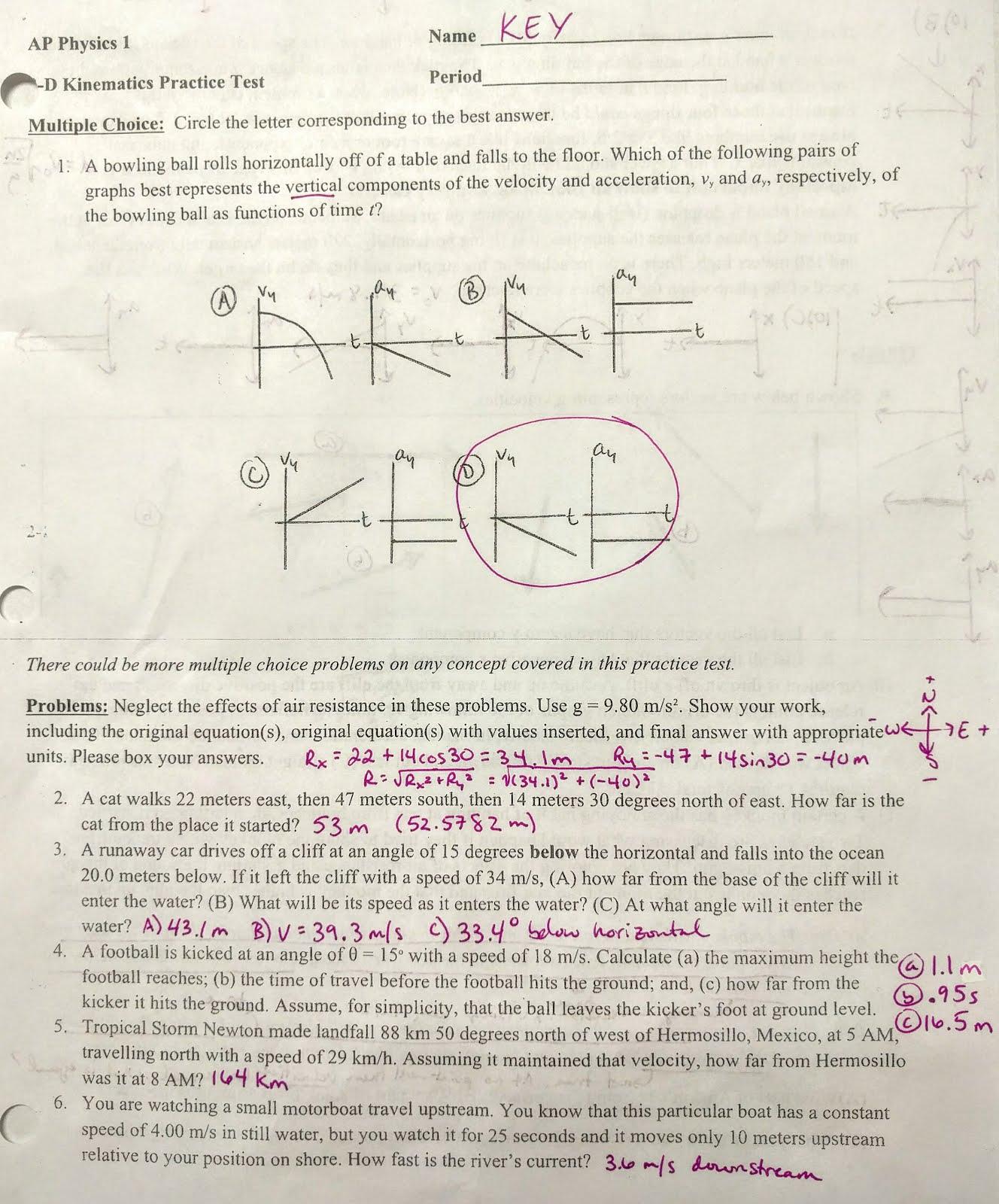 Volkening S Physics Classes 2 D Kinematics Test Practice