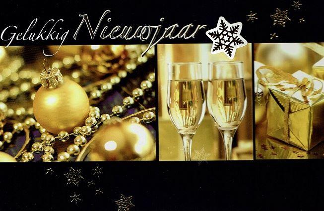 Gelukkig nieuwjaar stijlvolle nieuwjaarskaart black gold