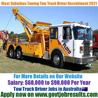West Suburban Towing Tow Truck Driver Recruitment 2021-22