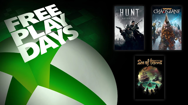 hunt showdown sea of thieves warhammer chaosbane xbox live gold free play days event