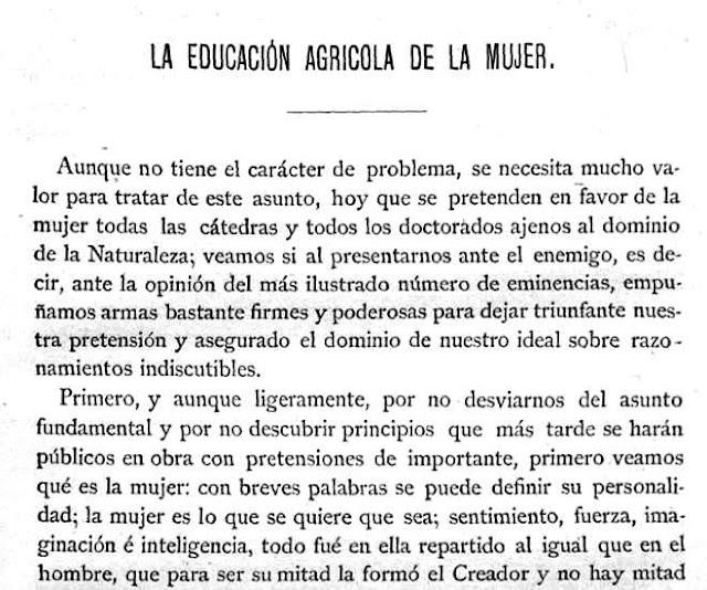 Fragmento del texto publicado en Gaceta Agrícola