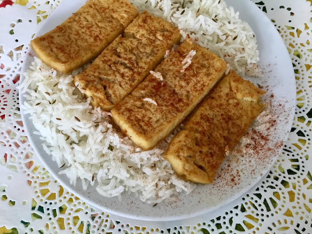 baked tofu and basmati rice with cumin seed