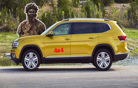 A madman standing behind a yellow SUV 4x4 car