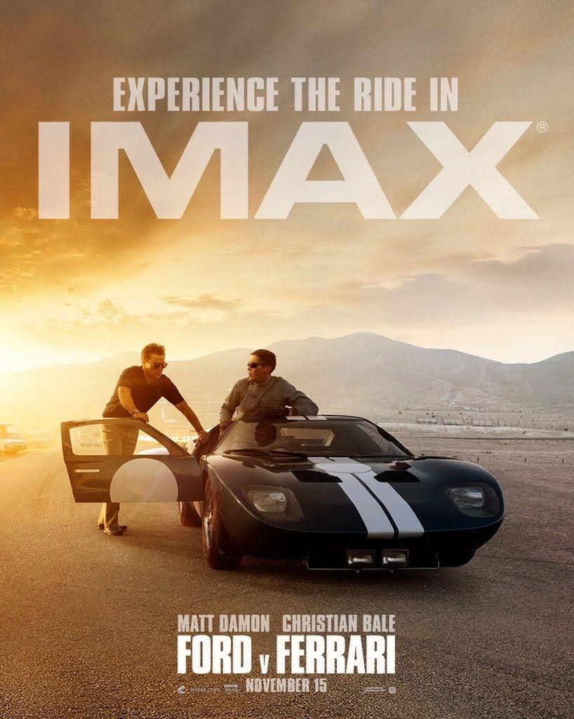 IMAX poster for Ford v Ferrari : クリスチャン・ベールとマット・デイモンがダブル主演をつとめるモータースポーツの実話の映画化「フォード V フェラーリ」のクールな IMAX ポスター ! !