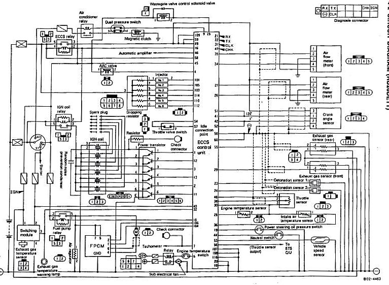 Nissan Skyline GTR ECCS Wiring Diagram  Engine Control