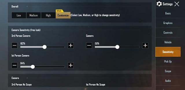 Camera sensitivity settings for free look in pubg Mobile