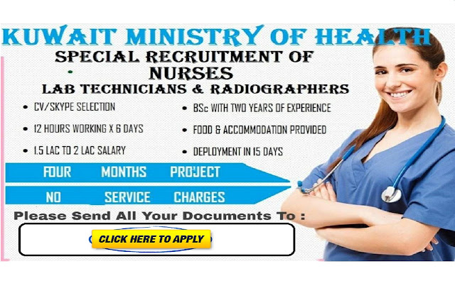 KUWAIT MINISTRY OF HEALTH NURSES VACANCY 2020 - NO SERVICE CHARGES