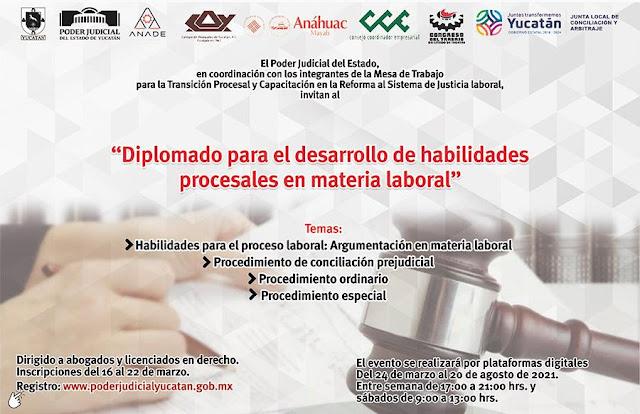 """Realizará Poder Judicial """"Diplomado para el desarrollo de habilidades procesales en materia laboral"""""""