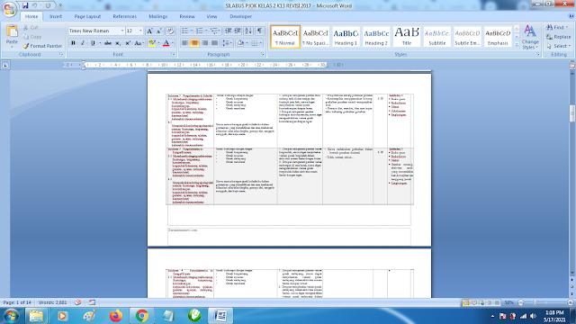 Contoh Format Silabus PJOK K13 Kelas 2 SD Semester 2 Revisi Terbaru