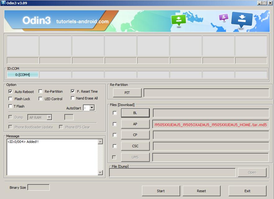 ODIN : installer I9505XXUEMJ5