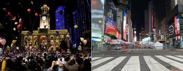 China provoca EUA com foto de reveillon em Wuhan x Nova York