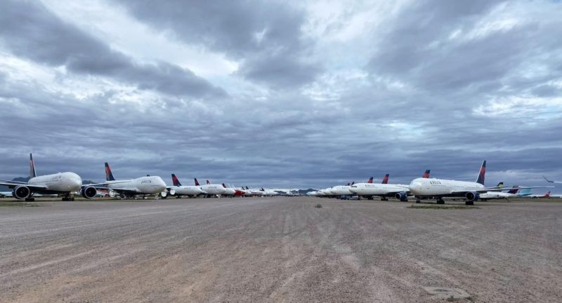 Grounded Delta Airlines planes in Marana, Pinal Air Park, Arizona.