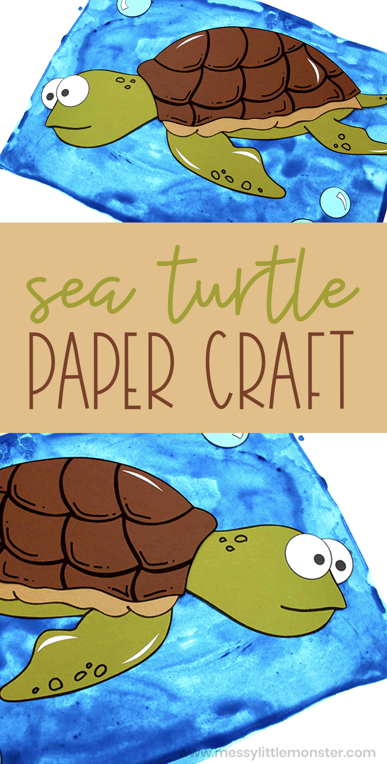 Sea Turtle Craft. A fun and easy turtle paper craft for kids with printable turtle template.