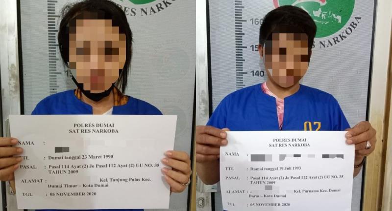 Tim Opsnal Sat Res Narkoba Polres Dumai Bekuk 2 Pelaku Pengedar Narkotika