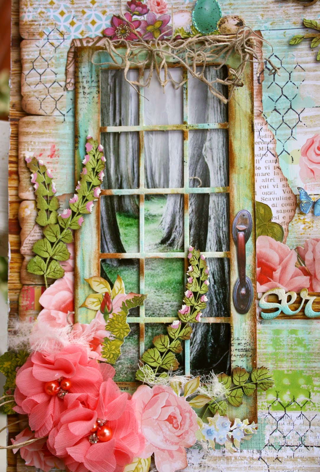 Scrapbook page by Gabrielle Pollacco using Dusty Attic Chipboard and Websters Pages Paper, Nest Collection