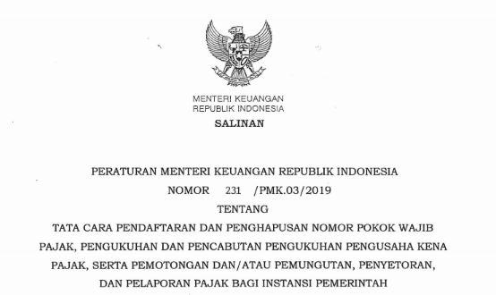 peraturan meneteri keuangan pmk nomor 231 tahun 2019 tentang pendafataran penghapusan npwp tomatalikuang.com