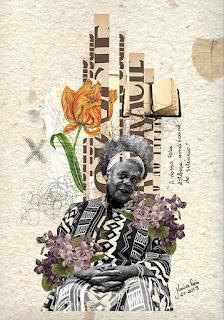 Imagem feita com colagem sobre Conceição Evaristo, Por Maria Rosa