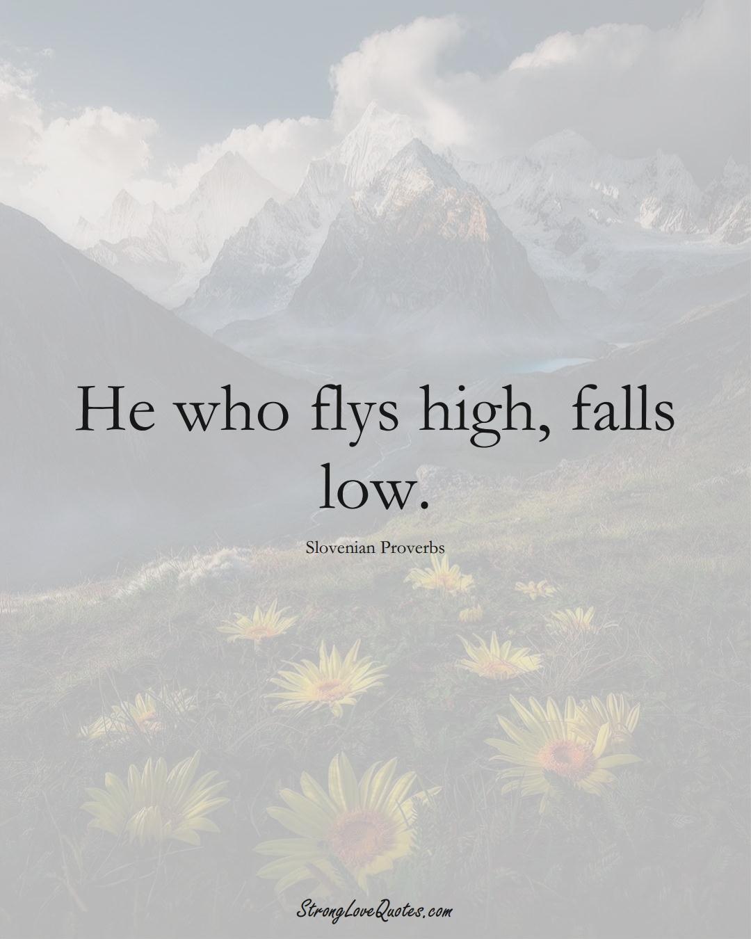 He who flys high, falls low. (Slovenian Sayings);  #EuropeanSayings