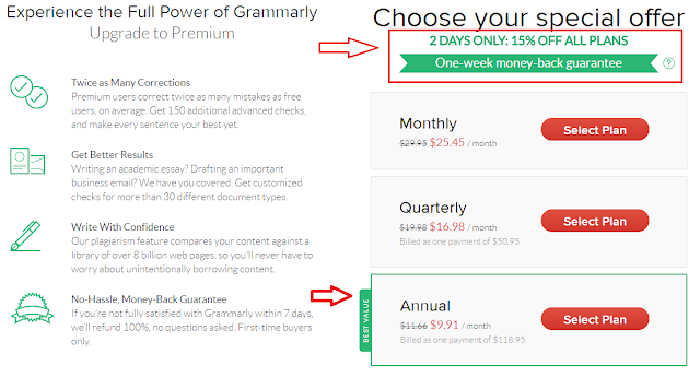 Grammarly special discount