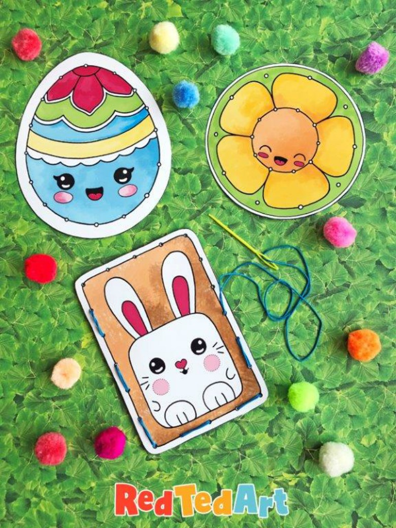 Easter lacing cards - Easter activities for toddlers and preschoolers