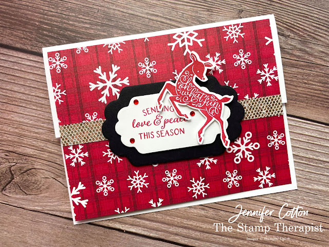 Handmade Christmas card using Stampin' Up! Peaceful Deer and Peaceful Prints Sale a Bration Designer Series Paper (DSP).  Also uses Be Dazzling SAB DSP.  Card is a fun fold.  Dies are Seasonal Labels Dies.  Video, measurements, and supply list on blog.  #StampinUp #StampTherapist #PeacefulDeer #PeacefulPrints