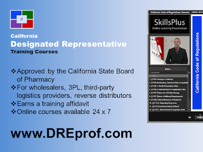 The largest selection of Board-approved California Designated Representative online training classes for wholesalers, 3PL, reverse distributors. Earns a training affidavit.
