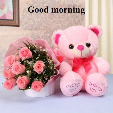 good morning images of teddy bear with flowers