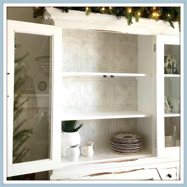 Cabinet -Shelving- Makeover-Cottage-Style-Farmhouse-Style-French-Country-White-Faux-Tin-Peel & Stick-Wallpaper-DIY-Tutorial-From My Front Porch To Yours