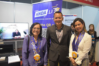 Department of Trade and Industry Officials during the Philippine SME Business Expo and Conference 2019 wearing a Filipino Rosette Leis in Mall of Asia, Pasay City, Philippines