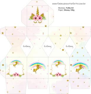 Cajas  de Fiesta de Unicornios para imprimir gratis.