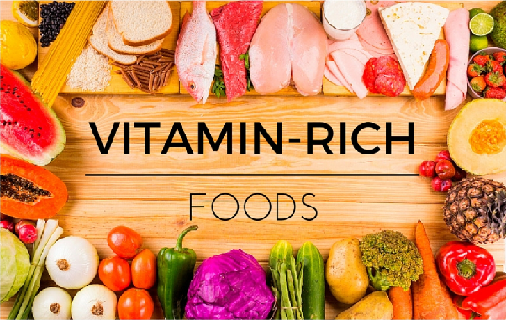 foods rich in different vitamins.