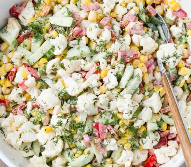 Cauliflower Cucumber Corn Salad #veganrecipe #vegetarian