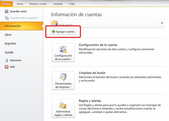Cómo configurar la cuenta de correo POP3 en Outlook
