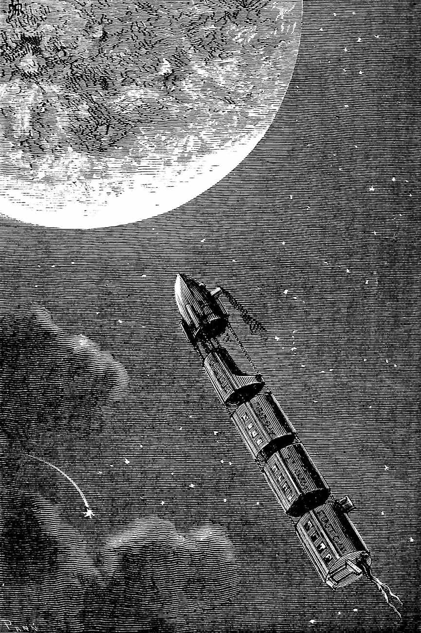 an 1874 commuter rocket train to the moon, an illustration for Jules Verne?