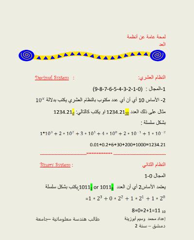 انظمة العد والتحويل بينها pdf