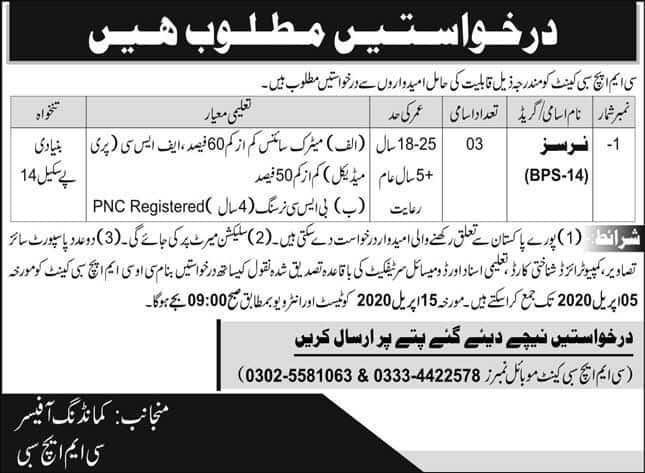 CMH Sabi Latest jobs advertisement 2020