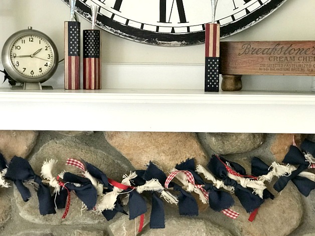 Fourth of July Rag Garland hanging on the Mantel