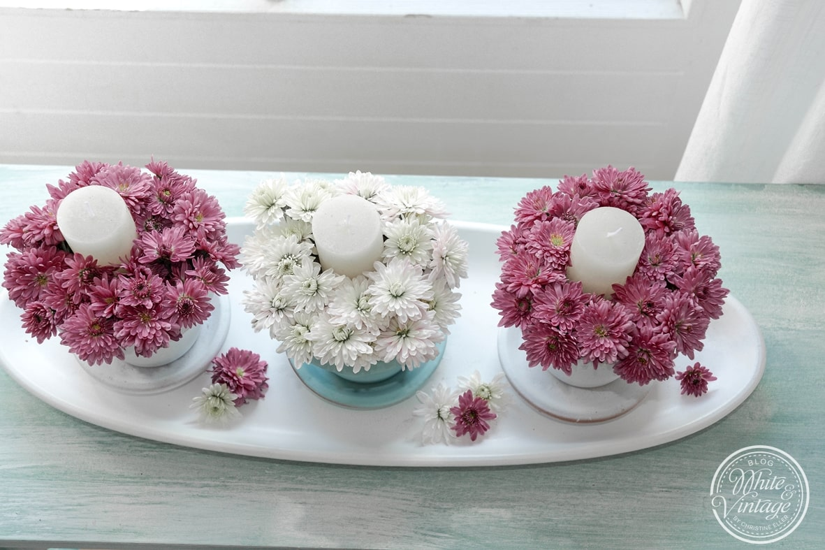 Blumendeko mit Kerzen selbermachen.