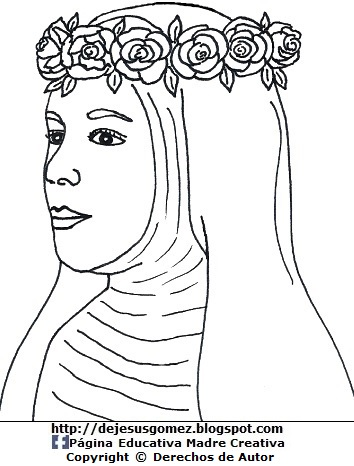 Dibujo de Santa Rosa de Lima para colorear