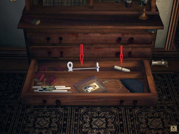 открытое отделение в ящике комода с ключом в игре сибирь