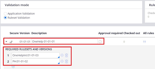 Ruleset validation mode - versions