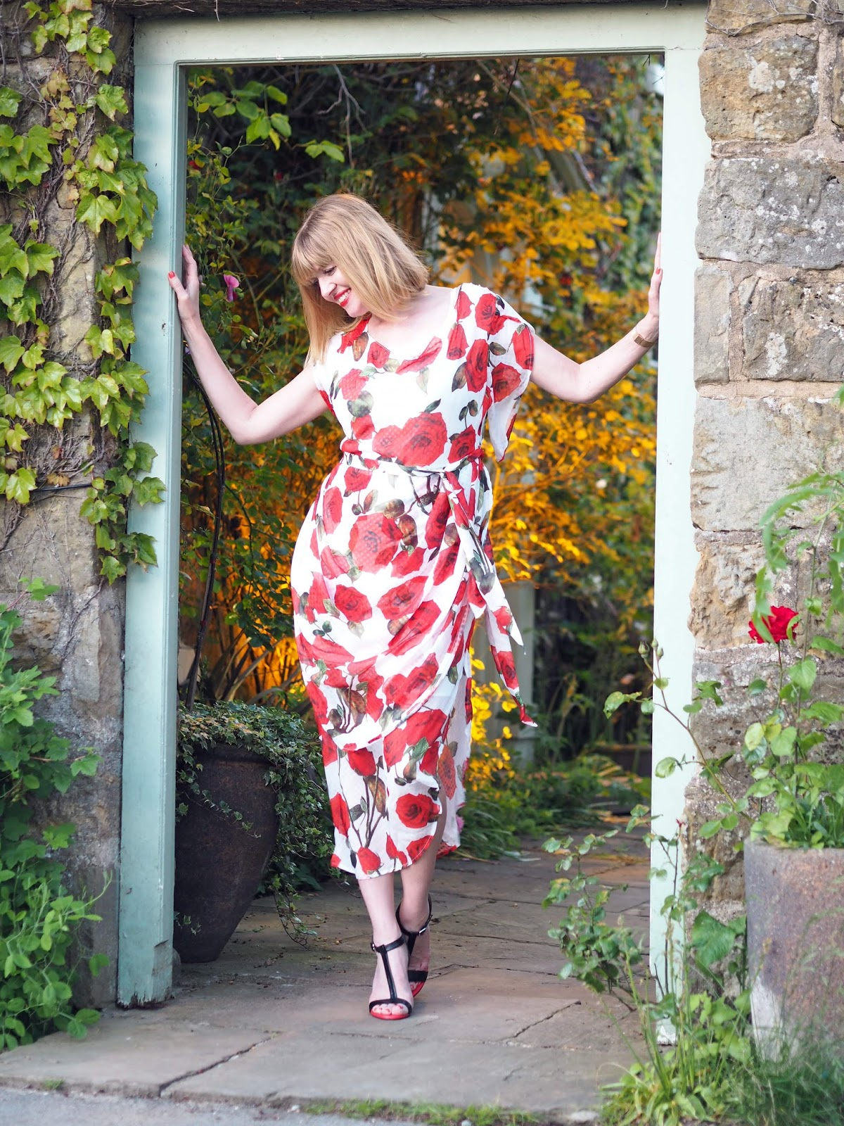 Alice's Pig White and red floral rose draped semi-fitted midi dress with red and black high-heeled sandals style over 40