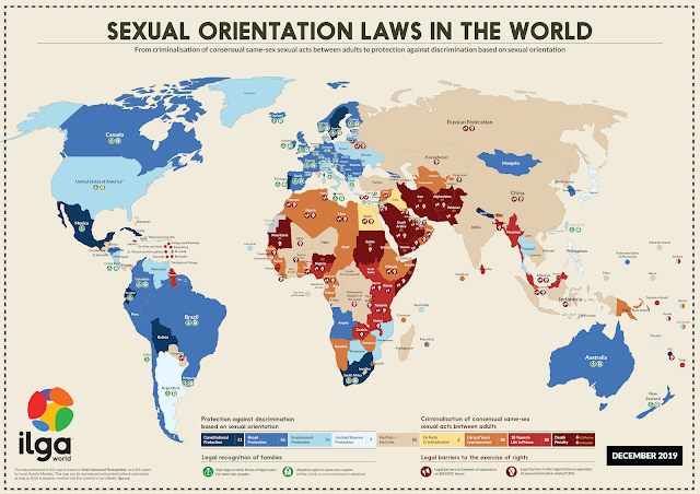 A map from ILGA World showing the various sexual orientation laws.