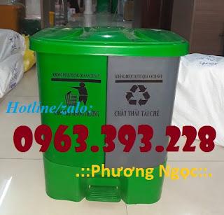 Thùng rác 2 ngăn đạp chân, thùng rác nhựa 2 ngăn 40L, thùng rác đạp chân 7e00d98e8b54690a3045