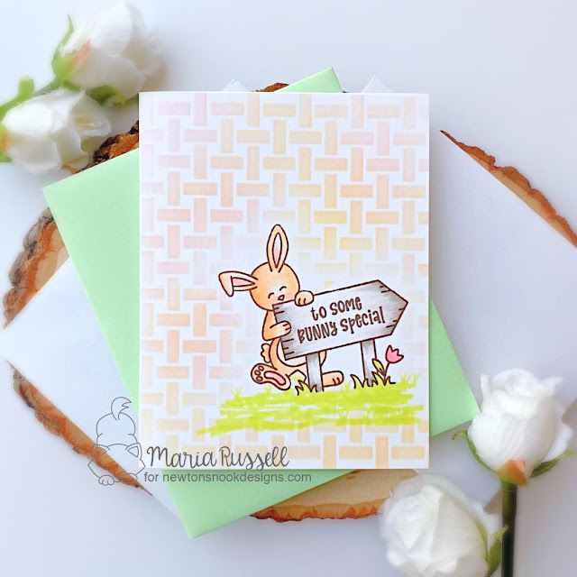 Some Bunny Special Card by Maria Russell | Hoppy Greetings Stamp Set and Basketweave Stencil by Newton's Nook Designs #newtonsnook #handmade