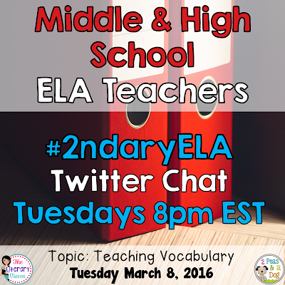 Join secondary English Language Arts teachers Tuesday evenings at 8 pm EST on Twitter. This week's chat will focus on teaching vocabulary.